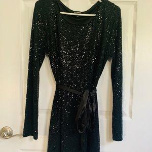 Black sequins dress with satin belt